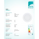 EGLO 94047 | Fueva-1 Eglo ugradna LED panel okrugli Ø120mm 1x LED 600lm 3000K belo