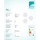 EGLO 94732 | Fueva-1 Eglo ugradna LED panel okrugli trodelni set Ø85mm 3x LED 900lm 3000K belo