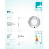 EGLO 96053 | Fueva-1 Eglo ugradna LED panel okrugli Ø85mm 1x LED 300lm 3000K IP44 krom, belo