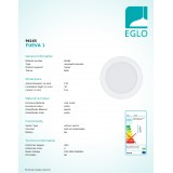 EGLO 96165 | Fueva-1 Eglo ugradna LED panel okrugli Ø170mm 1x LED 1200lm 3000K IP44 belo