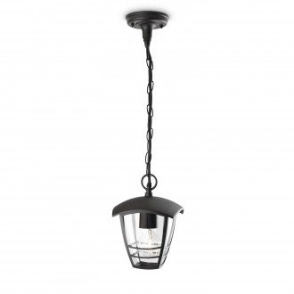 PHILIPS 15386/30/16 | CreekP Philips visilica lampa 1x E27 IP44 crno