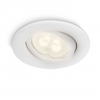 PHILIPS 17289/31/16 | Fresco Philips ugradna lampa pomerljivo Ø100mm 1x GU10 350lm 2700K IP23 belo